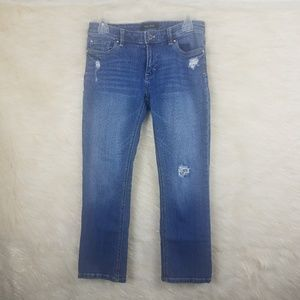 WHBM skinny jeans distressed sequined size 4 crop